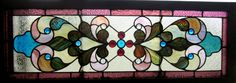 ~ ANTIQUE AMERICAN STAINED GLASS TRANSOM WINDOW ~ 15 JEWELS ~ SALVAGE ~ | eBay