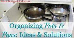Organizing Pots and Pans - Ideas and Solutions...For more creative tips and ideas FOLLOW https://www.facebook.com/homeandlifetips