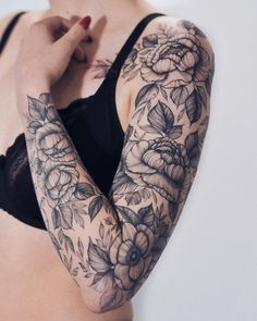 40 Exclusive And Stunning Arm Floral Sleeve Tattoo Designs For Your Inspiration - Page 13 of 40 Half Sleeve Tattoos Lower Arm, Arm Sleeve Tattoos, Sleeve Tattoos For Women, Tattoo Sleeve Designs, Tattoo Sleeves, Tattoo Women, Skull Sleeve, Tribal Sleeve, Tattoo Fairy