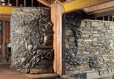 Stone Wall Mosaics Flow in Beautiful Spirals and Waves