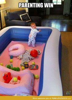 inflatable pool makes a great safe play area for babies and toddlers. An inflatable pool makes a great safe play area for babies and toddlers. Parenting Win, Kids And Parenting, Parenting Hacks, Parenting Humor, Parenting Classes, Foster Parenting, Parenting Workshop, Parenting Styles, Baby Life Hacks