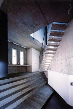 Concrete half rounded, half square home by Kugatsuno Kaze Design Office - CAANdesign | Architecture and home design blog