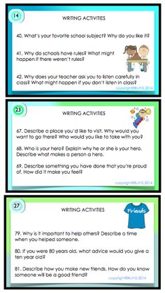 Kid friendly writing prompts. Your most reluctant writers will join in the fun as they select from a wide range and variety of prompts!