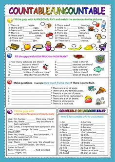 Countable - Uncountable nouns Language: Grade/level: elementary School subject: English as a Second Language (ESL) Main content: Countable and uncontable nouns Other contents: a/an/some/any, there is/there are, how much/how many Teaching English Grammar, English Grammar Worksheets, Grammar Lessons, English Vocabulary, English Words, English Lessons, Learn English, Grammar Exercises, English Exercises