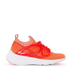 Bold and bright, the fly-by knit sneaker in coral is crafted in super comfortable stretch fabric. This trainer is finished with a tonal wing details. Knit Sneakers, Sophia Webster, Stretch Fabric, Perfect Fit, Trainers, Kicks, Coral, Knitting, Leather
