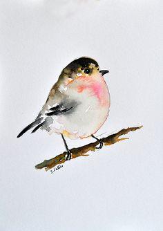 Peinture d'oiseau aquarelle originale, neutre couleur minimaliste impressionniste oiseau 6 x 8 pouces