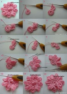 DIY Basic Crochet 3D Spiral with 8 Petal Flower Trims