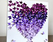 Purple Ombre Classic Butterfly Heart/ 3D Butterfly Wall Art / Engagement Gift / Unique Wedding Gift / Gift for Her / Nursery / Purple Art