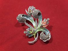 Hollywood Marcasite and Enamel Floral Brooch Treasure Chest, Marcasite, Cufflinks, Campaign, Enamel, Hollywood, Brooch, Content, Medium