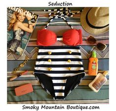 Seduction Retro High Waist Swimsuit (Red Top and Black & White Stripped Bottom) S/M/L/XL