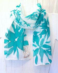 Hand Painted Silk Scarf Floral Emerald by SilkCouturebyTakuyo, $19.99