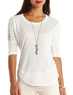 Lace Yoke Side-Ruched Tunic Top: Charlotte Russe