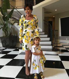 Kardashian matriarch Kris Jenner dresses herself and grandaughter Penelope Disick in matching lemon printed dresses while mother Kourtney was away Kourtney Kardashian, Kardashian Style, Kardashian Jenner, Kardashian Family, Kardashian Fashion, Kris Jenner Hair, Look Kylie Jenner, Kris Jenner House, Kendall Jenner