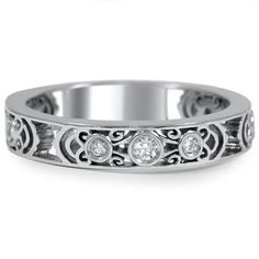 Intricately Sculpted Wedding Ring, top view