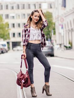 Get this look: http://lb.nu/look/7817284  More looks by Stefanie: http://lb.nu/stefanierose  Items in this look:  New Yorker  Leggins, Tally Weijl Crop Top, Ankle Boots, Aldo Bag, Zara Flannel Blouse   #casual #edgy #street