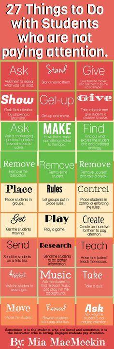 27 cosas para hacer con estudiantes que no prestan atención #infografia #infographic #education