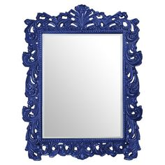 Complement Baroque-inspired decor or contrast modern furniture with this ornately carved mirror, showcasing an elaborately scrolled frame and a blue lacquer ...