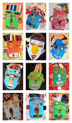 Collage, Retrats Simple Collage, Collage Art, Arte Elemental, Picasso Art, Ecole Art, Easy Art Projects, Bee Art, Kindergarten Art, Masks Art