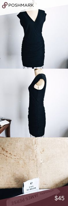 """James Perse Sleeveless V-Neck Ruched Dress Black 3 James Perse Sleeveless V-Neck Ruched Dress Size 3 Pre-owned still in great condition Should to hem 43"""" James Perse Dresses"""