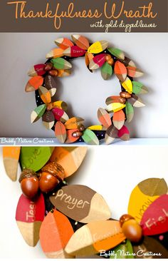 25 Best Kids Turkey Crafts for Thanksgiving -- Thankfulness Wreath w/gold-dipped leaves