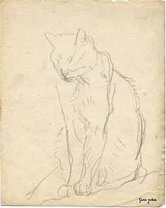 Cat Sitting, with Eyes Closed by Gwen John
