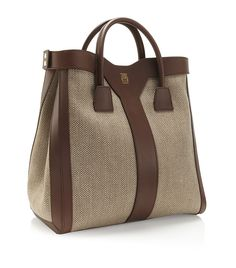 YVES SAINT LAURENT-Double Y Linen and Leather Tote