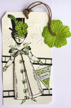 Artwork by Vilma Gasnier working with Character Constructions art stamps, Timekeeper's Garden and French Laundry Collections.