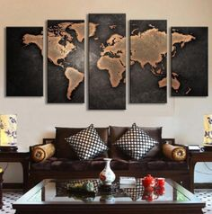Amazing 5 Piece World Map Canvas Panel Painting!