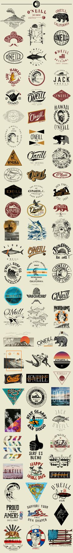O'Neill is known as the Original American Surfing Company. It began as a  wetsuit company and surf shop, founded by Jack O'Neill in 1952. It  continues to be one of the most sought-after surf brands today.  Here's a compilation of some more recent t-shirt graphics.