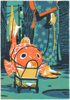 The Fish Lantern5 layers linocut -hand printedThe 1000 Lights Festival takes place in Niigatas old district. Children take fish lanterns for a walk, in the old-fashioned shopping street which looks like a river. ☆☆☆ Our online shop is open! ☆☆☆ Atelier Sento on Etsy:http://etsy.com/shop/AtelierSentoHandmade linocut prints  photographies - portraits of a dreamlike Japan. Feel free to mail us if you have any question: ateliersento@gmail.com