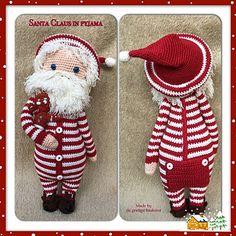Crochet Santa doll in his pajamas. (Pattern available to purchase). Crochet Santa, Christmas Crochet Patterns, Holiday Crochet, Christmas Knitting, Love Crochet, Crochet Baby, Knitted Dolls, Crochet Dolls, Amigurumi Doll