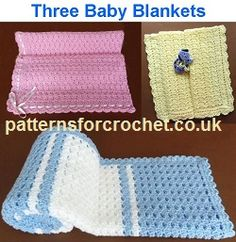 Free PDF crochet pattern booklet for Three baby blankets http://www.patternsforcrochet.co.uk/pdf-booklets.html #patternsforcrochet