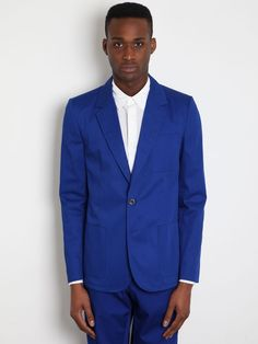 MAISON MARTIN MARGIELA 10 MEN'S ELECTRIC BLUE COTTON JACKET