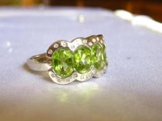 3.26 CARAT TW GENUINE DIAMOND & GREEN PERIDOT 925 STERLING SILVER RING