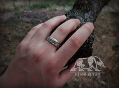 Viking Ring with Traditional Viking Ornament Sterling Silver