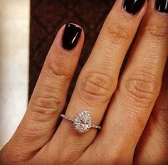 Black nails with gorgeous modern engagement ring. Morganite Engagement, Rose Gold Engagement Ring, Diamond Wedding Rings, Bridal Rings, Bridal Jewelry, Oval Engagement, Jewellery Rings, Diamond Rings, Fine Jewelry