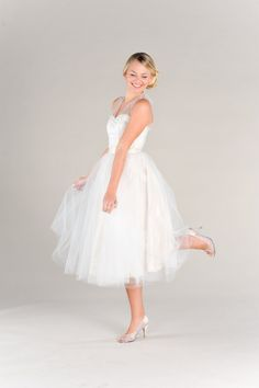 Short Vintage Inspired Wedding Dress 50s by PureMagnoliaCouture, $1125.00