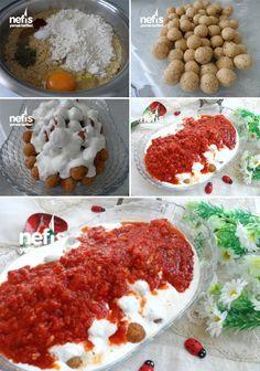 ✿ ❤ ♨ Domates Soslu Bulgurlu Köfte Yapılışı. Malzemeler:  1 çorba kasesi köftelik bulgur 4 yemek kaşığı tepeleme un 1 adet yumurta Karabiber Kırmızı pul biber Kuru nane Kimyon Tuz 3 adet rendelenmiş domates Yarım yemek kaşığı domates salçası 2 diş sarımsak Tuz Kuru nane 4-5 yemek kaşığı zeytin yağı Sarımsaklı yoğurt