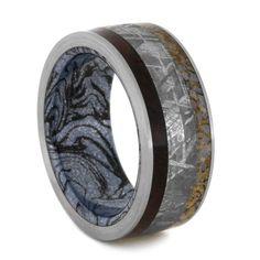 Gibeon Meteorite Ring, Titanium Ring with Dinosaur Bone, Rosewood and Cobaltium Mokume Gane Sleeve