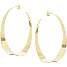 Lana Large Flat Gloss Hoop Earrings ($2,875) ❤ liked on Polyvore featuring jewelry, earrings, gold, jewelry earrings hoop, gold post earrings, yellow gold earrings, gold jewelry, 14k gold earrings and gold earrings