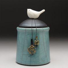 Ceramic jar with Bird,green pottery jar ,Little Clay Bird on Jar, raku fired art pottery
