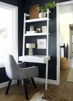 My Own Little Corner Desk idea - Sawyer White Leaning Desk from Crate & Barrel