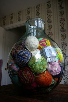 giant glass jar for yarn storage - LOVE! Was thinking this would be a great way to display my yarn in craft room AND free up closet space for stamping supplies! Knitting Room, Knitting Storage, Yarn Storage, Knitting Humor, Craft Room Storage, Yarn Crafts, Diy Crafts, Yarn Organization, Yarn Stash