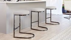 Black Chrome and Cool Grey Modern Bar Stool