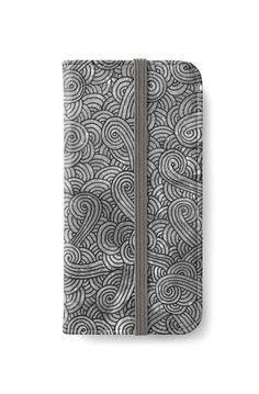 Grey and black swirls doodles iPhone Wallet by @savousepate on @redbubble #iphonewallet #phonewallet #doodles #zentangle #abstract #modern #graphic #geometric #blackandwhite