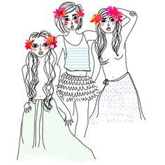 illustration été fleurs dans les cheveux et jupe longue
