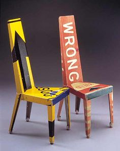Recycled chairs:  street signs