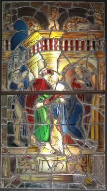 REN, Vidiera Abrazo puerta Dorada, 1549, MNAD. Puede que el lugar de producción sea Ávila, lugar de donde procede la pieza, exactamente, del Real Monasterio Cisterciense de Santa Ana de Ávila. Se da por perteneciente a la escuela hispano-flamenca, de quien es Maestro Juan de Flandes. Se ejecutó para el Monasterio de Santa Ana de Ávila, seguramete por encargo de la abadesa que aparece representada como donante, a escala reducida y arrodillada, sobre el pedestal en el que figura, en una… Art, Painting
