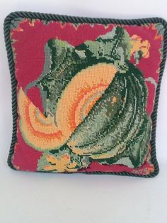 Vintage Needlepoint Pillow Hot Pink  And by musteredgrace on Etsy