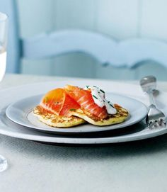 Scottish potato pancakes with smoked salmon